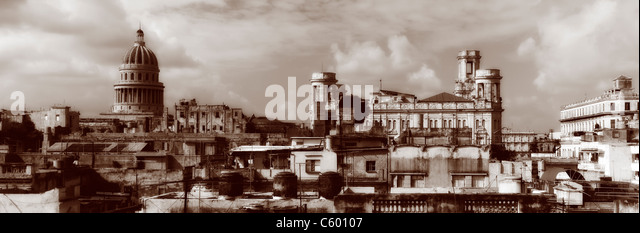 Havanna Vieja ,elevated view, Old Havanna Skyline, Panorama , Cuba - Stock Image