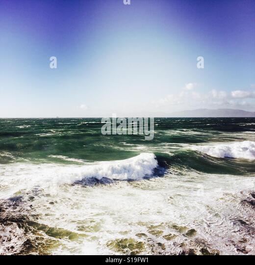 Stormy seas off the Manhattan Beach pier. Manhattan Beach, California USA. - Stock Image