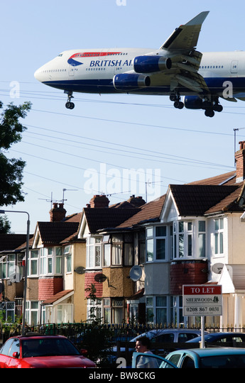Boeing 747 operated by British Airways on approach for landing at London Heathrow Airport UK - Stock Image