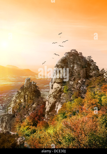 Birds over the Valley of Ghosts in Crimea - Stock Image