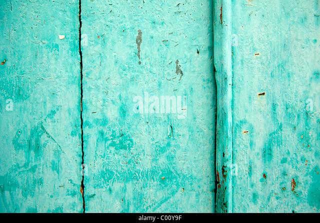 Turquoise painted door - Stock-Bilder