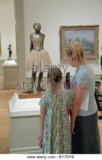 Maryland Baltimore Baltimore Museum of Art Wyman Park gallery exhibition collection Degas sculpture ballerina woman - Stock Image