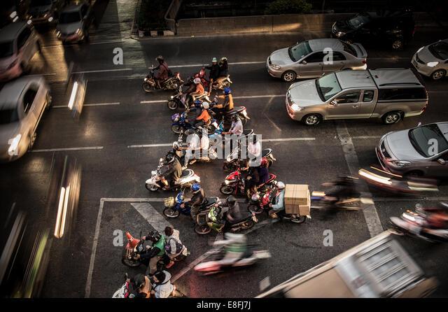 Thailand, Bangkok, High angle view of traffic jam - Stock Image