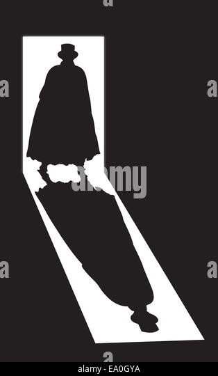 A silhouette of Jack the ripper in a doorway on a black background - Stock-Bilder