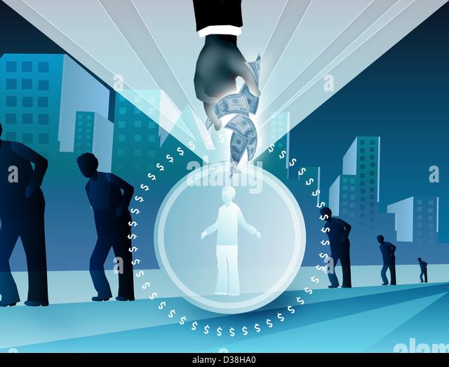 Illustration representing benefits of health insurance - Stock Image
