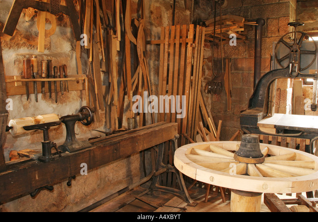 Historical wheelwright's workshop at the open-air museum Hesssenpark, Neu-Anspach, Hesse, Germany - Stock Image
