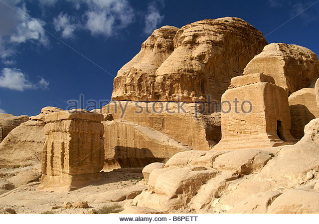 Djinn Blocks - ancient tombs of Petra in Jordan - Stock Image