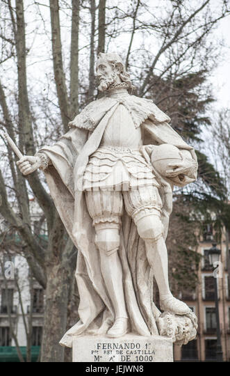 Madrid, Spain - february 26, 2017: Sculpture of Ferdinand I King at Plaza de Oriente, Madrid. He was the first king - Stock Image