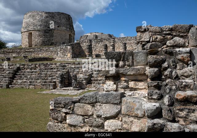 The Observatory, Mayan ruins at Mayapan, Yucatan, Mexico - Stock-Bilder