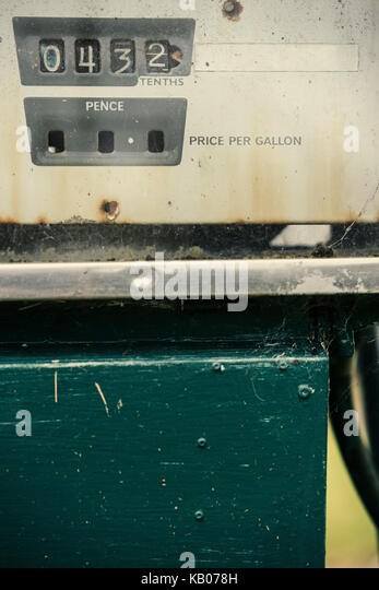 Detail of a rusty old petrol pump - Stock Image