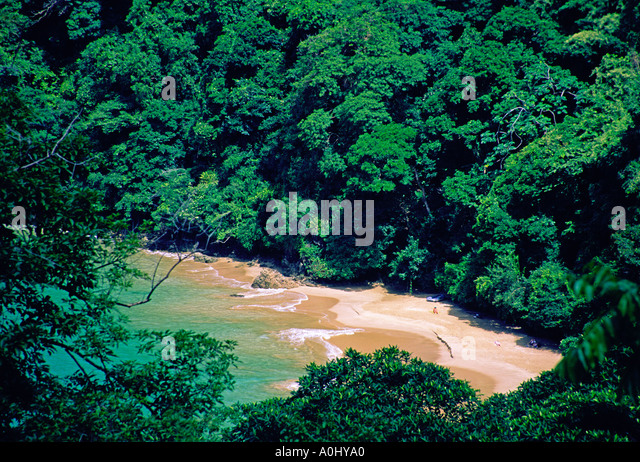 Tobago Englishman s bay beach bird s eye view - Stock Image