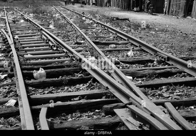 Old Railway Infrastructure Black And White Stock Photos