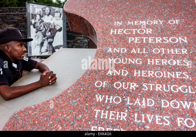 South Africa African Johannesburg Orlando West Soweto Hector Pieterson Memorial protest apartheid Black man Sam - Stock Image