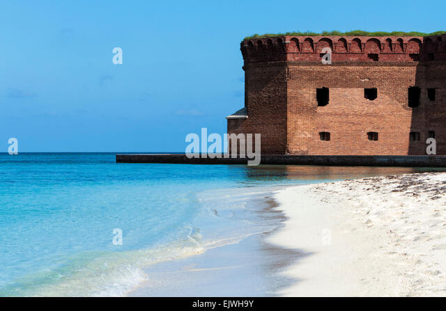 The White Sands beach at Fort Jefferson National Park - Stock Image