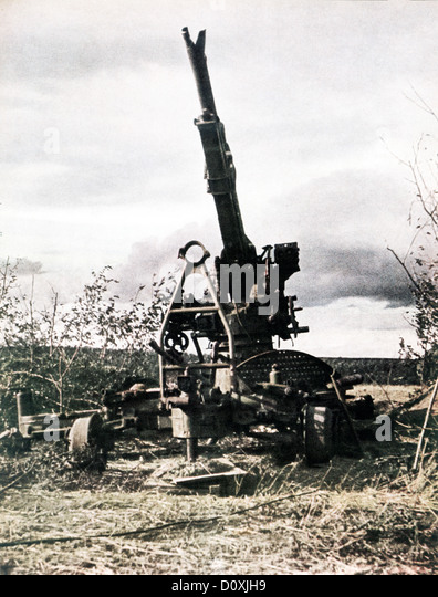 Operation, Barbarossa, Russian, gun, destroyed, invasion, USSR, World War II, Soviet Union, 1942, weapon - Stock Image