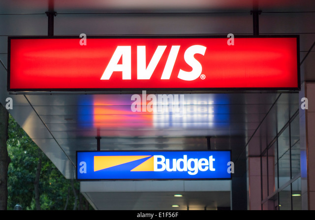 Australia Queensland Brisbane Central Business District CBD Mary Street rental car agencies competing signs Avis - Stock Image