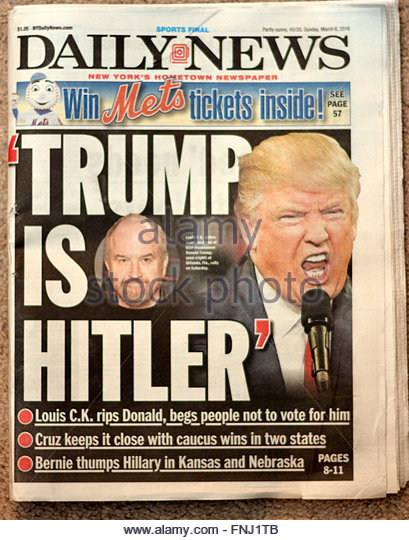 2016 headline from the New York Daily News mocking Donald Trump after Trumpwas called Hitler by Louis C. K. - Stock Image