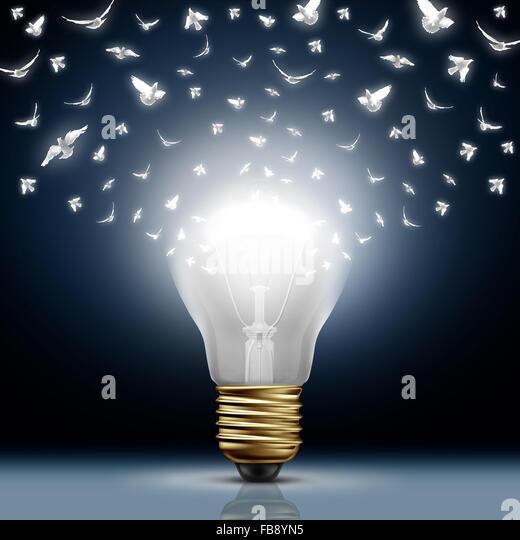 Creative start concept as a bright illuminated light bulb transforming to white flying birds as a digital messaging - Stock-Bilder