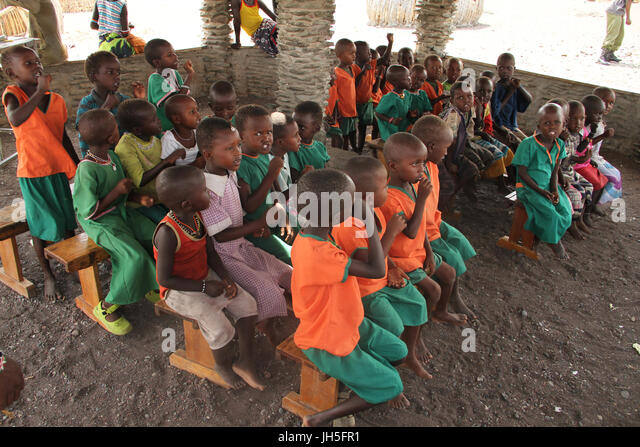 LOIYANGELENI, KENYA - May 18. School children at a school in the El Molo village of Komote bu the shores of Lake - Stock Image