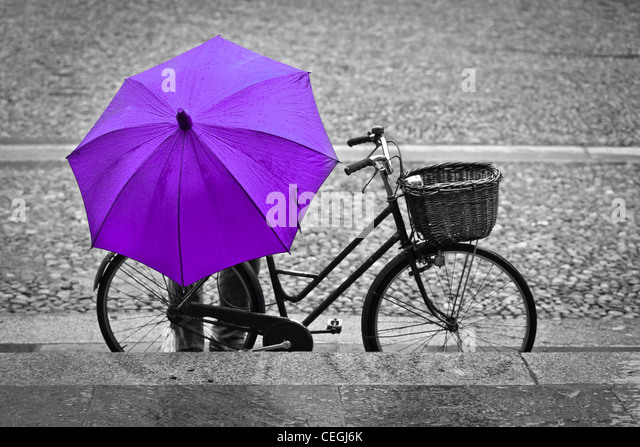 A man with a pink umbrella parking his bike, Parma, Italy - Stock Image