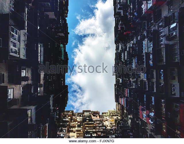 Directly Below View Of Buildings Against Sky - Stock-Bilder