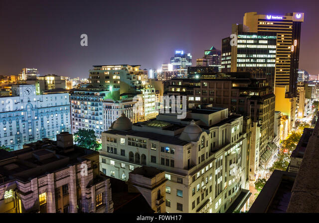 South Africa African Cape Town City Centre center skyline buildings night nightlife downtown - Stock Image