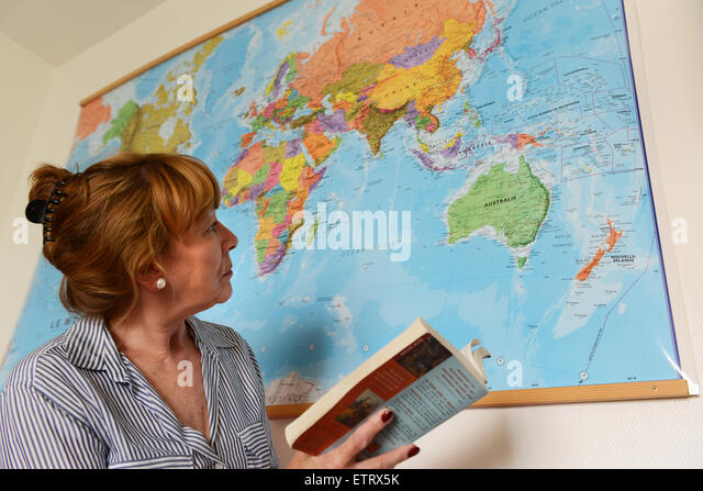 Woman Booking planning world travel holiday - Stock-Bilder