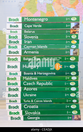 A stack of 'Bradt' travel guides - Stock-Bilder
