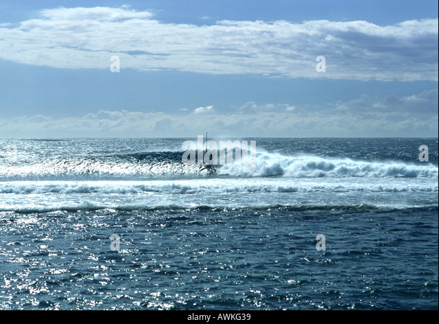 Seascape, windsurfer visible in distance - Stock Image