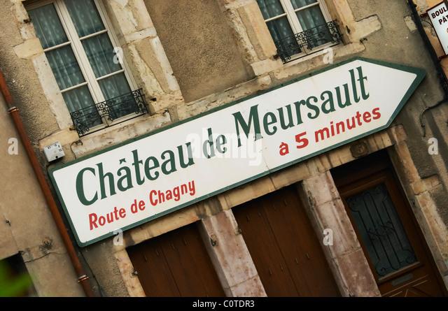 road sign ch de meursault beaune cote de beaune burgundy france - Stock Image