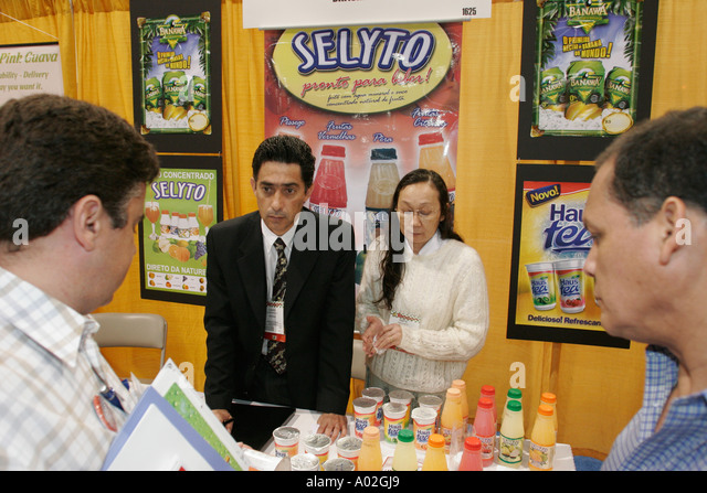 Miami Beach Florida Convention Center Americas Food and Beverage Show Brazil fruit drinks - Stock Image