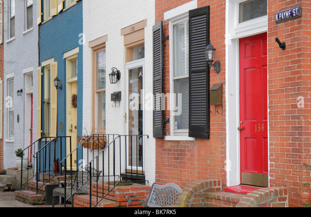 Virginia Alexandria Old Town Alexandria historic district North Payne Street row house terrace house brick door - Stock Image
