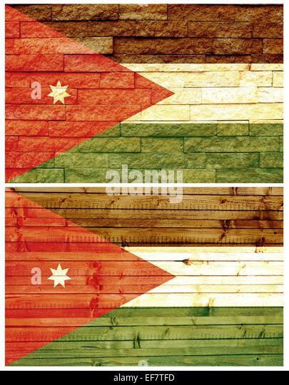 Vintage wall flag of Jordan - Stock Image