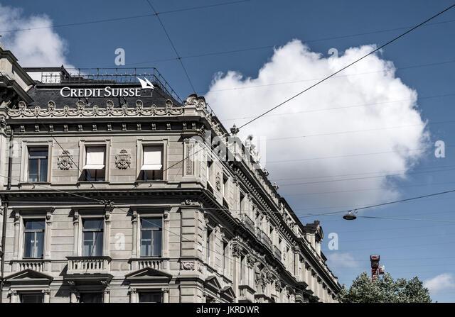 Credit Suisse, Paradeplatz, Zurich, Switzerland - Stock Image