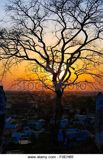 Small twon sunset - Stock Image