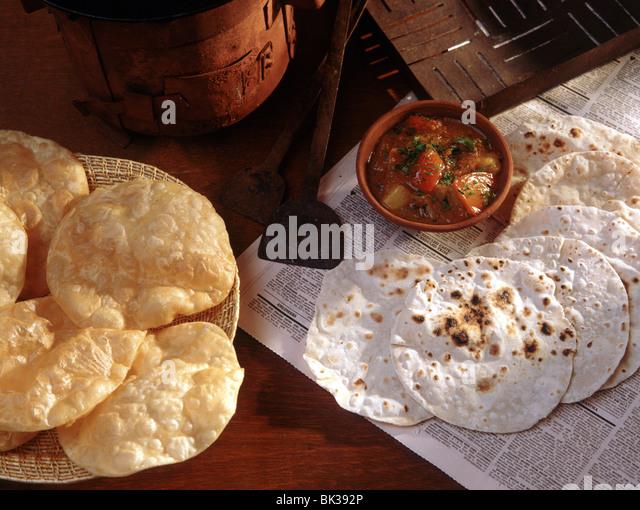 Chapati and puri breads, India, Asia - Stock-Bilder