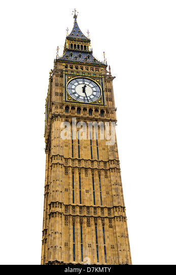 Big Ben tower isolated on white, 4 stitched pictures for large resolution - Stock Image