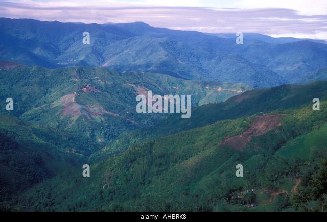 Malaysia Sabah Borneo deforestation agriculture Kinabalu - Stock Image