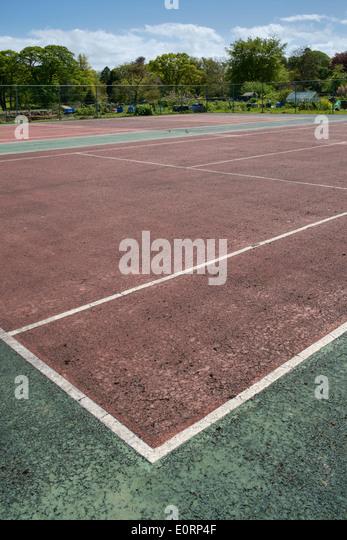 Empty, abandoned municipal tennis courts, England, UK - Stock Image