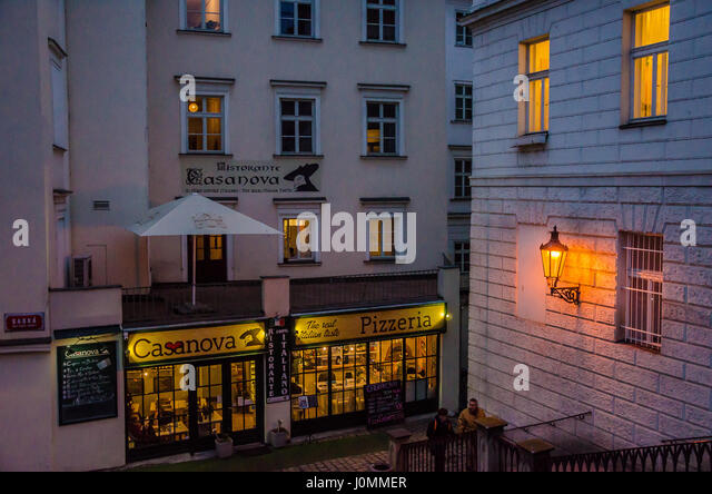 Ristorante Casanova under the Charles Bridge in Prague - Stock Image