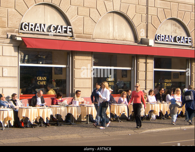 Switzerland Zurich Limmatquai Gran Cafe people - Stock Image