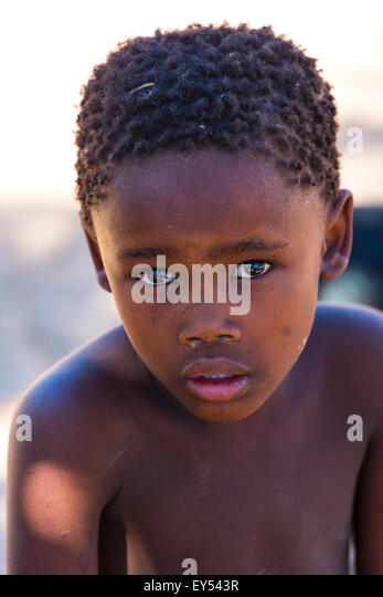 Bushman child portrait - Kalahari Botswana - Stock Image