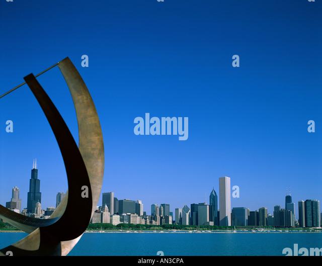 City Skyline & Lake Michigan, Chicago, Illinois, USA - Stock Image