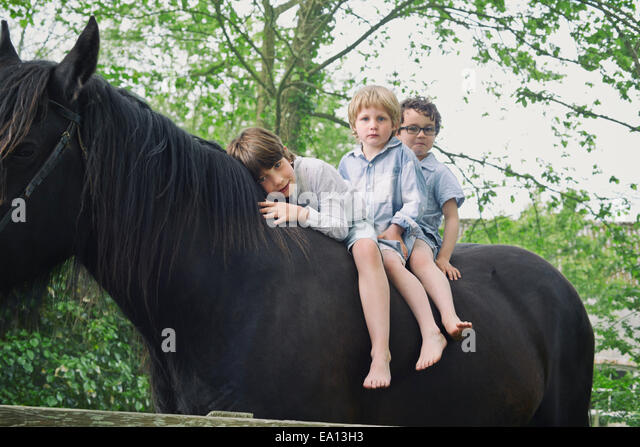 Three boys in a row riding on horse in woods - Stock Image