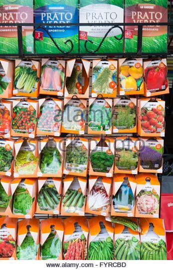 Italian seed packets Venice, Italy, April - Stock-Bilder