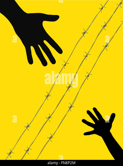 Splitting refugee families with barbed wire - Stock Image