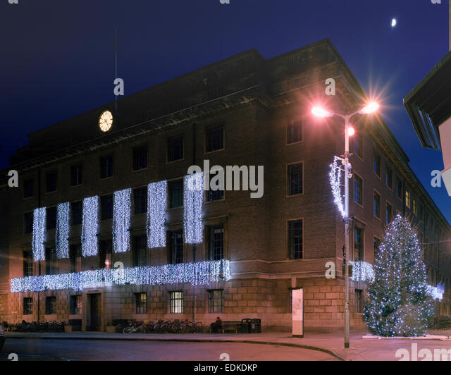 The Guildhall Cambridge with Christmas illuminations - Stock Image