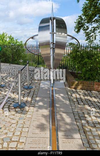 Sculpture on the Prime Meridian Line at the Royal Observatory, Greenwich, London, England, UK - Stock Image