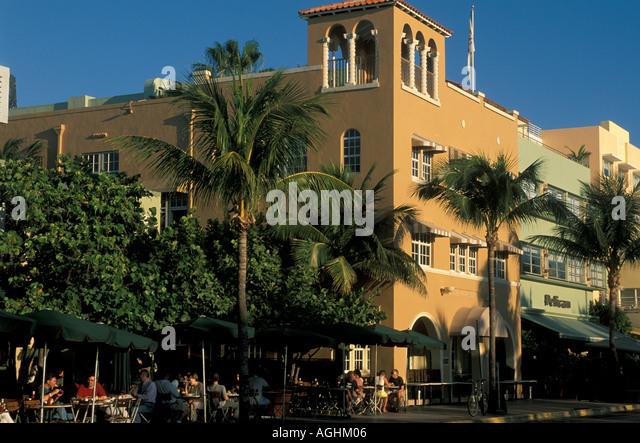 Miami Florida FL South Beach sidewalk restaurant on Ocean Drive - Stock Image