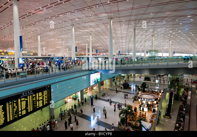 Interior of Beijing Capital Airport Terminal 3. JMH4819 - Stock Image